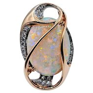Amazing 12.68ct Opal and Diamond Pin/Pendant by C.D. Peacock 18k/Plat