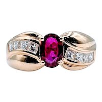 Deep Red Natural Ruby and Diamond Ring