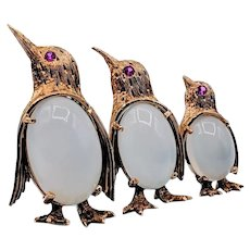 Vintage 18k Moonstone and Ruby Penguin Brooch by Bucherer