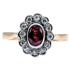 Vintage Ruby and Diamond Ring 18kt Size 7