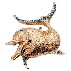 Custom Made Dolphin Brooch with Blue Diamonds