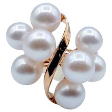 Vintage Pearl Cocktail Ring with 8 Akoya Pearls Size 7