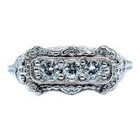 Vintage Filigree 3-Stone Diamond Ring 14k Size 6