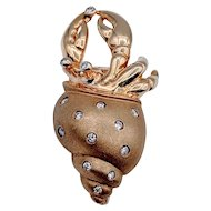 Vintage Crab in a Shell Brooch with Diamonds 14k