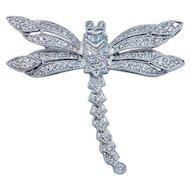 Stunning 1.25ctw Diamond Dragonfly Brooch Pendant 18k