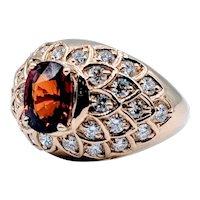 Custom Spessartite Garnet & Diamond Ring