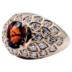 Custom Spessartite Garnet & Diamond Ring