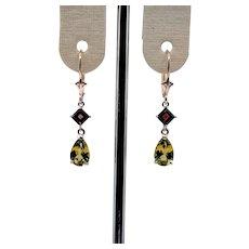 Peridot & Garnet Drop Earrings