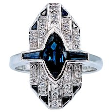Vintage LeVian Sapphire and Diamond Ring 18k Size 7