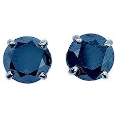 2.05ctw Black Diamond Stud Earrings