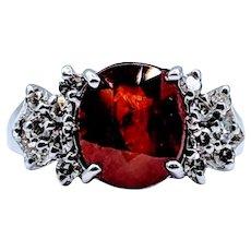 Synthetic Orange Sapphire & Diamond Ring