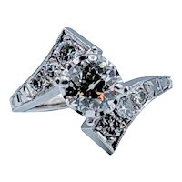 18k White Gold European Cut Diamond Ring