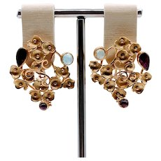 18k Yellow Gold Ruby & Aquamarine Earrings