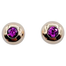 Vintage Dome Bezel Set Ruby Stud Earrings