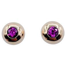 Vintage Dome Bezel Set Ruby Stud Earrings