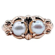 Vintage Double Pearl Ring Size 7