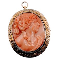 Victorian Coral Cameo Brooch Yellow Gold