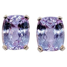 10ctw Kunzite Cushion Cut Stud Earrings 14k Yellow