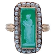 Beautiful Antique Hard Stone Cameo Ring w/Seed Pearls