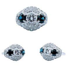 **Weekend Sale Item** 1940s Vintage Platinum Diamond & Sapphire Ring