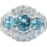 Ice Blue Natural Zircon & Diamond Cocktail Ring - Platinum