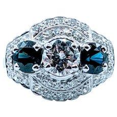 1940s Platinum Setting 1.50ctw Diamond & Sapphire Ring