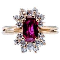 18k Yellow Gold Ruby & Diamond Ring