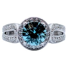 1.70ct Natural Blue Zircon & Diamond Ring