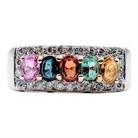 Diamond & Multi Colored Sapphire Gold Ring