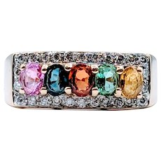 Diamond & Multi Colored Sapphire Gold Ring