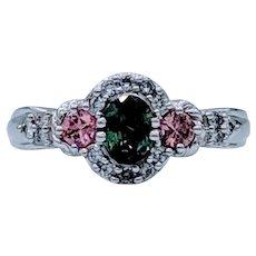 Alexandrite, Diamond, & Tourmaline White Gold Ring