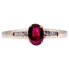 2/3 Carat Ruby & Diamond Gold Ring