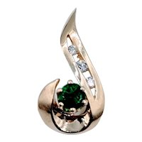 Yellow Gold Emerald & Diamond Pendant