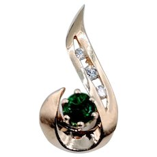 Yellow Gold Emerald & Diamond Pendant