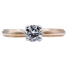Yellow Gold Solitaire .33 Carat Diamond Ring