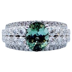 Sea Mist Green Tourmaline & Diamond Ring