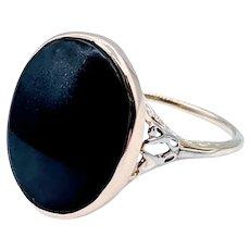 Fantastic Antique Onyx Ring 18k