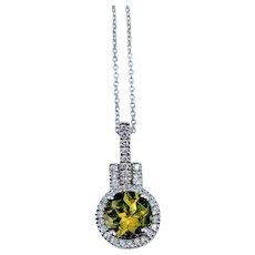 Peridot & Diamond White Gold Necklace