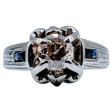 1.20 Ct European Cut Champagne Diamond & Sapphire 18k Ring
