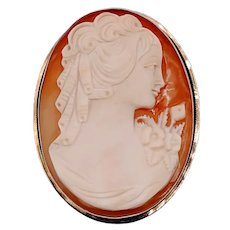 Large Vintage Shell Cameo Brooch/Pendant 14k