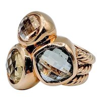 Retired David Yurman 3-Stone Cable Ring 18k