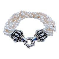 Lagos Caviar Multi-Strand Pearl Bracelet 18k/SS