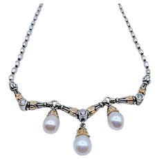 Retired Lagos Pearl And Diamond Necklace SS/18K