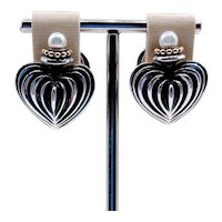 Retired Lagos Heart Earrings with Pearl SS/18k