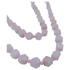"Vintage 32"" Rose Quartz Necklace"