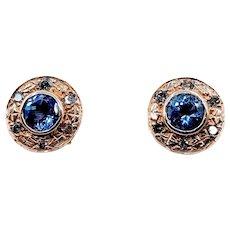 Custom Vintage Tanzanite and Champagne Diamond Earrings 14ky