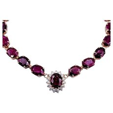 "65+ Ctw Ruby & Diamond Necklace 16"" 14k"