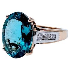 Indicolite Tourmaline Ring with Diamonds 14k