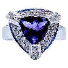 Trillion Amethyst and Diamond Ring 14k