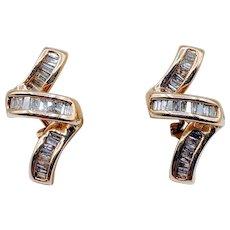 Zig Zag 1/2 carat Baguette Diamond Omega Back Earrings
